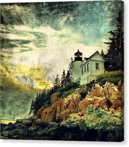 Ocean Sunsets Canvas Print - Sunset Over Bass Harbor Lighthouse by Luke Kingma