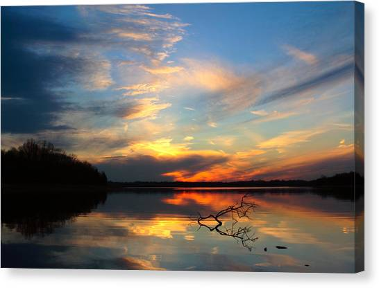 Sunset Over Calm Lake Canvas Print