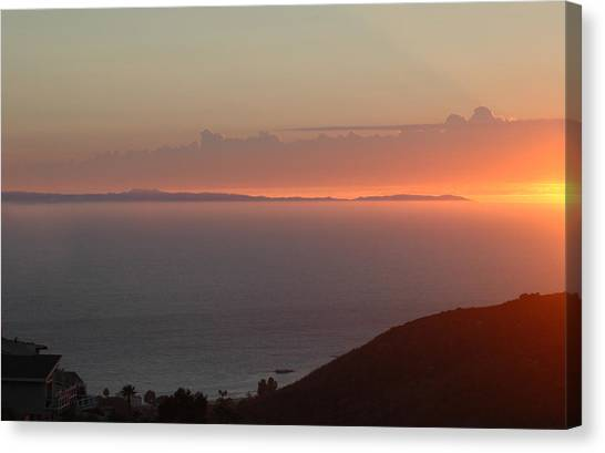 Sunset Over Catalina Canvas Print by Russell Pierce