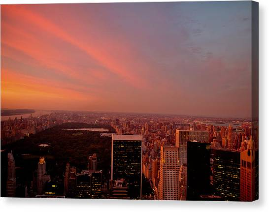 City Sunsets Canvas Print - Sunset Over Central Park And The New York City Skyline by Vivienne Gucwa
