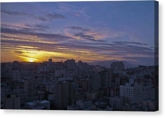 Sunset Over City Canvas Print