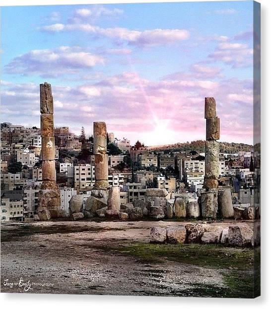 Roman Art Canvas Print - Sunset Over Jerash by Jane Emily