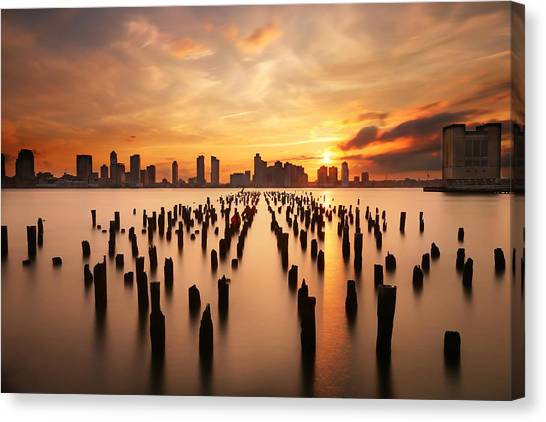 Broadway Canvas Print - Sunset Over The Hudson River by Larry Marshall