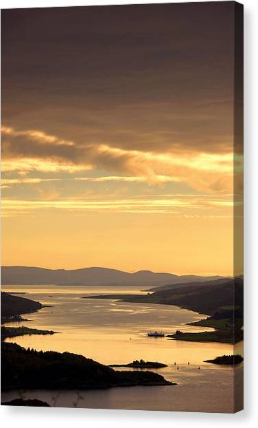 Sunset Over Water, Argyll And Bute Canvas Print