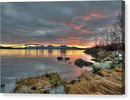 Sunset Reflecting Water,clouds, Sandnessund Bridge Canvas Print by Bernt Olsen