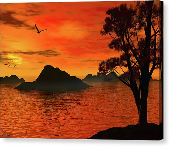 Lake Sunsets Canvas Print - Sunset Serenade by Lourry Legarde