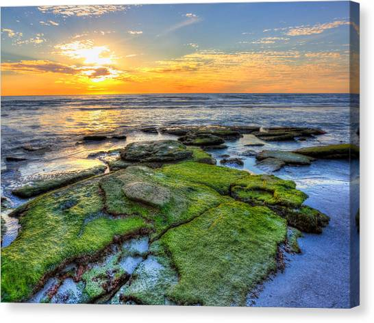 Sunset Siesta Key Rocks Canvas Print by Jenny Ellen Photography