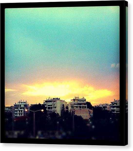 Athens Canvas Print - #sunset #sky #athens #greece #instamood by Vassilis Valimitis