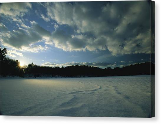 Walden Pond Canvas Print - Sunset Viewed From The Frozen Surface by Tim Laman