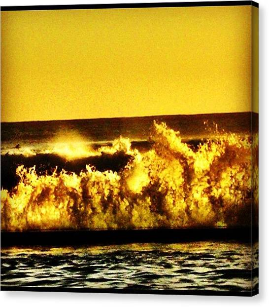 Ocean Sunsets Canvas Print - Sunset Waves #sunset #waves #yellow by David Sabat