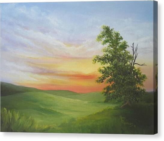 Sunset With A Tree Canvas Print by Mary Rogers