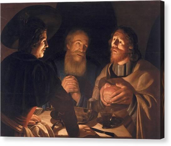Resurrected Canvas Print - Supper At Emmaus by Cryn Hendricksz Volmaryn