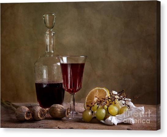 Dinner Table Canvas Print - Supper With Wine by Nailia Schwarz