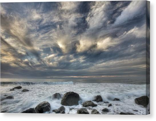 Fox Glacier Canvas Print - Surf At Gillespies Beach Near Fox by Colin Monteath