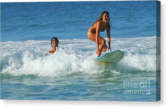 Surfboard Fence Canvas Print - Surf Buddies by Bob Christopher