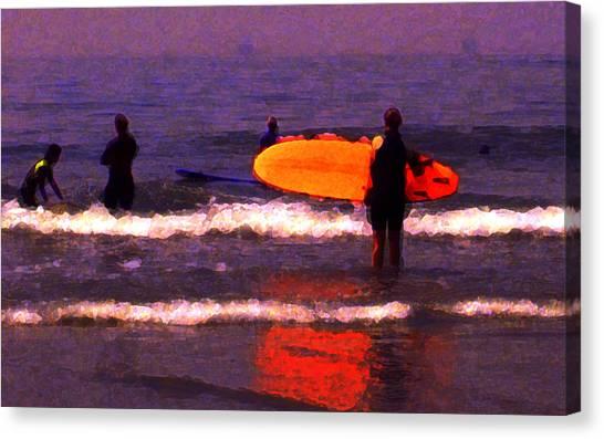 Surf Lessons Canvas Print by Ron Regalado