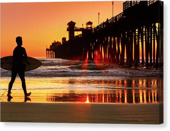 Canvas Print - Surf Session At Sunset by Donna Pagakis