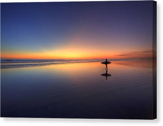 People Walking On Beach Canvas Print - Surfer Walking On Rainbow by Eric Lo