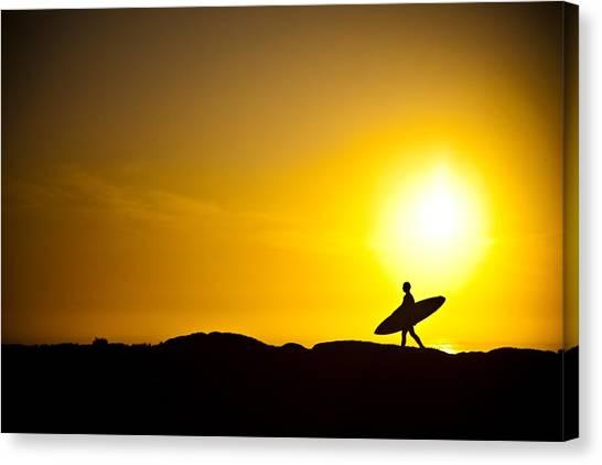 Beach Sunrises Canvas Print - Surfer's Dawn by Zarija Pavikevik