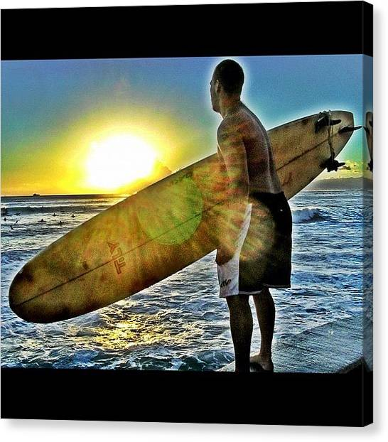 Ocean Sunsets Canvas Print - Surf's Up! #surfing #surfboard #hawaii by David Sabat
