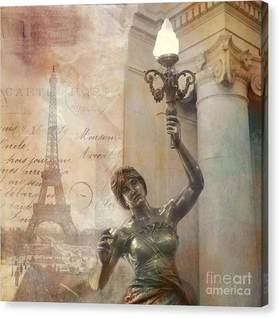 Parisian Canvas Print - Paris Eiffel Tower Surreal Art Deco With Female Statue Street Lantern Montage  by Kathy Fornal
