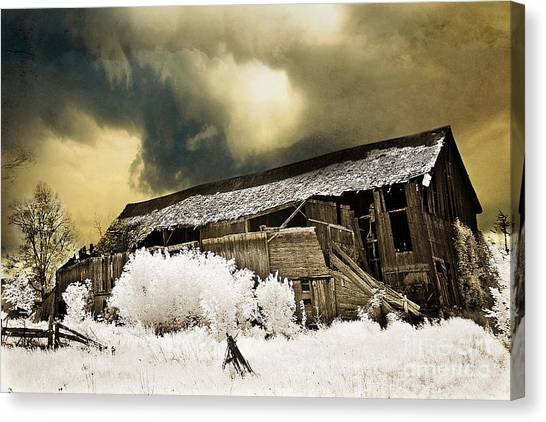 Old Houses Canvas Print - Surreal Infrared Barn Scene With Stormy Sky by Kathy Fornal