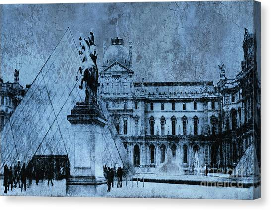 The Louvre Canvas Print - Surreal Paris In Blue - Musee Du Louvre Pyramid by Kathy Fornal