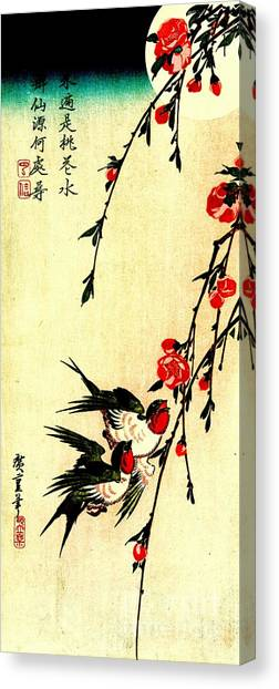 Under The Moon Canvas Print - Swallows And Peach Blossoms Under The Full Moon 1855 by Padre Art