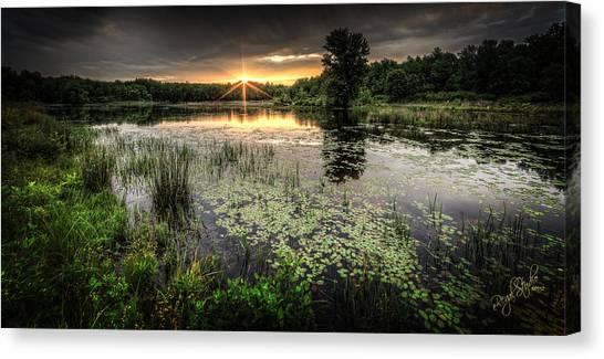 Lake Sunrises Canvas Print - Swamp Sunrise by Everet Regal