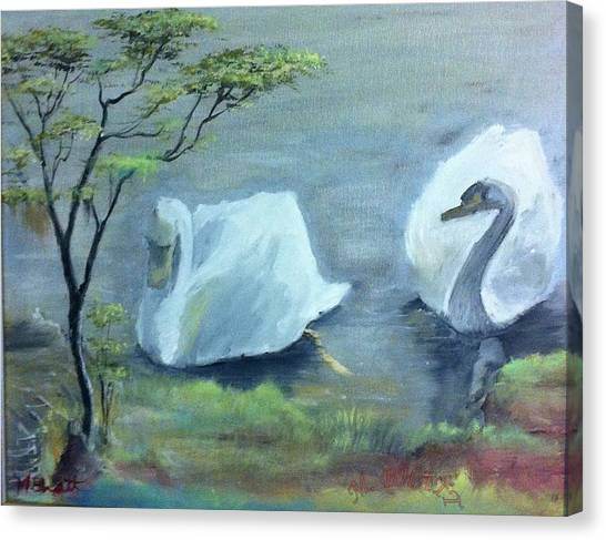Swan Couple Canvas Print by M Bhatt