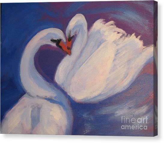 Swan Kiss Canvas Print