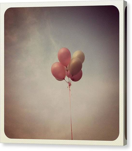 Balloons Canvas Print - #sweet #beautiful #pink #white #balloon by Xiu Ching