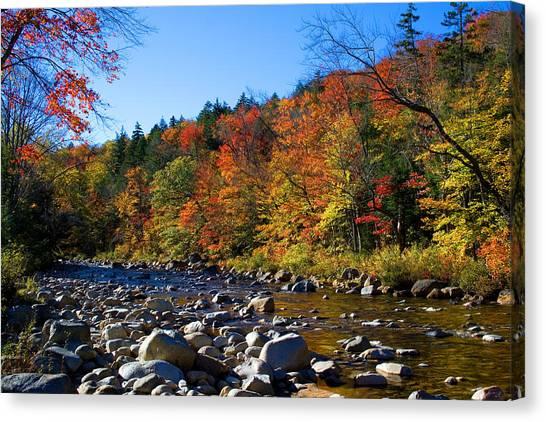 Swift River In Autumn Canvas Print