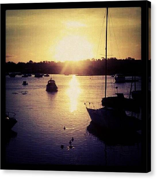Yachts Canvas Print - Swimming Into The Sunrise. #sunrise by Phil De Montjoie Heard