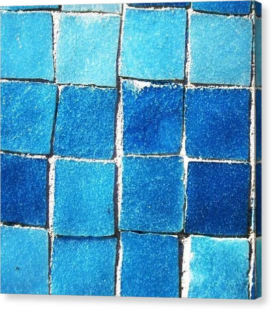 Swimming Canvas Print - Swimming Pool Tiles #blue #blues by Keikei Kelly