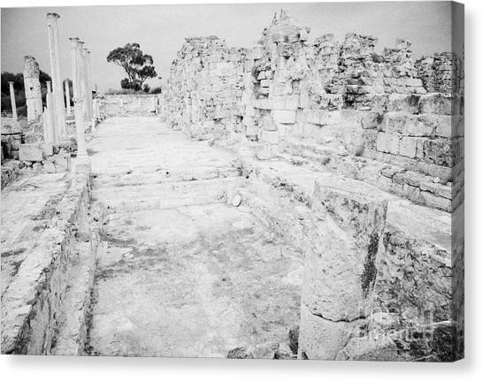 Swimming Pools In The Gymnasium And Baths In The Ancient Site Of Old Roman Villa Salamis Canvas Print by Joe Fox