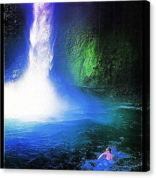 Jungles Canvas Print - Swimming To A Waterfall by The Fun Enthusiast