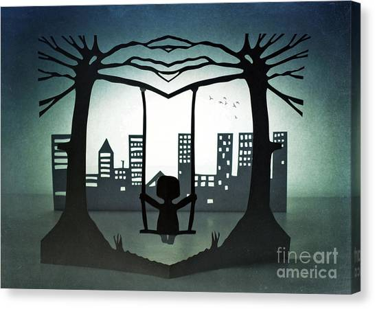 Swing With A City View Canvas Print by Catherine MacBride