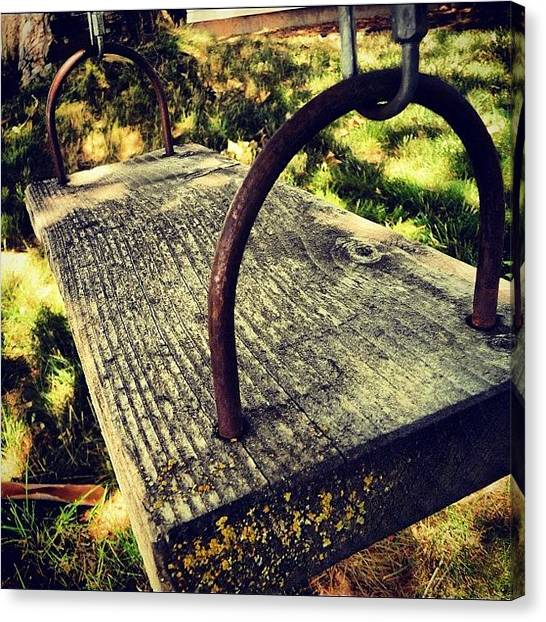 Swing Canvas Print - #swing #wood #brown #green #backyard by Cassidy Taylor
