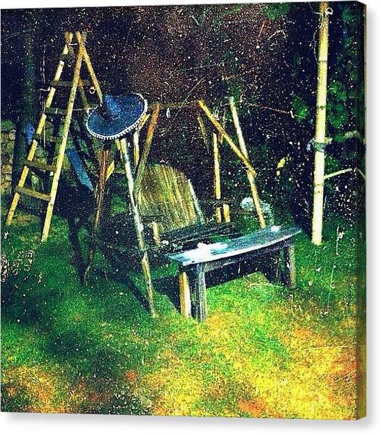 Swing Canvas Print - #swing #wood #grass #sombrero #night by Highsam Achkar