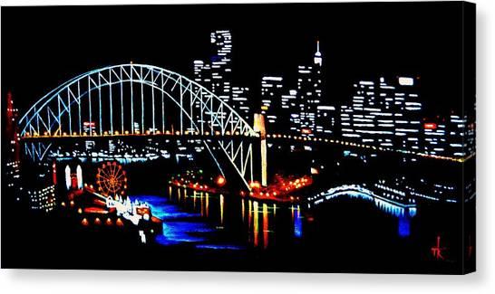 Sydney By Black Light Canvas Print
