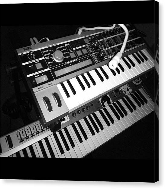 Synthesizers Canvas Print - #synthesizer #analog #microkorg #korg by Guy Owens
