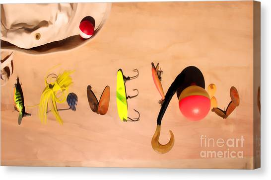 Canvas Print - Tacklebox I Love You by Cathy Beharriell
