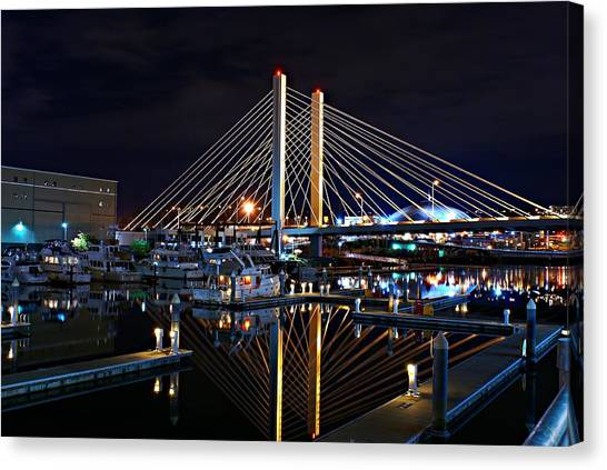 Tacoma Hwy 509 Bridge Up In Lights 1 Canvas Print