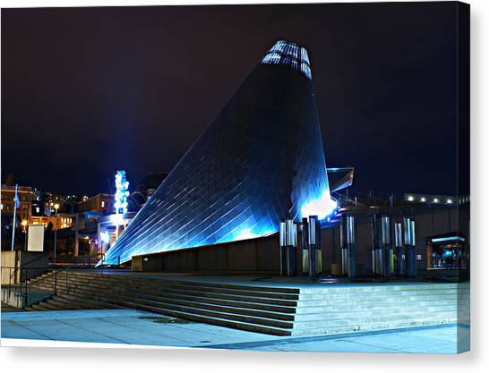 Tacoma Museum Of Glass At Night 1 Canvas Print
