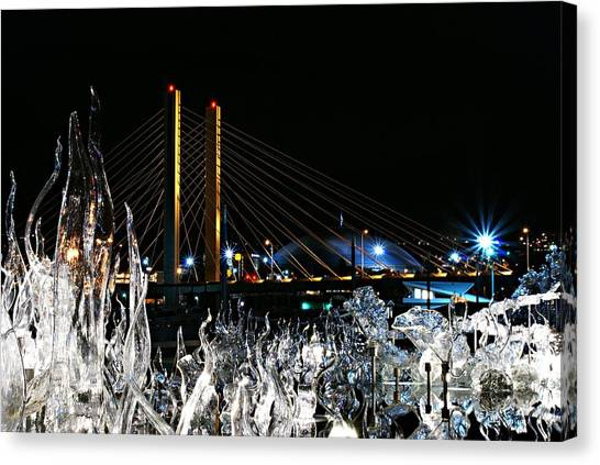 Tacoma Museum Of Glass Outdoor Sculpture Enhanced Canvas Print