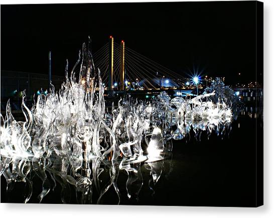 Tacoma Museum Of Glass Outdoor Sculpture Canvas Print