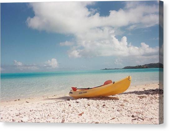 Tahiti Ocean Kayak On Beach Canvas Print by Mark Norman