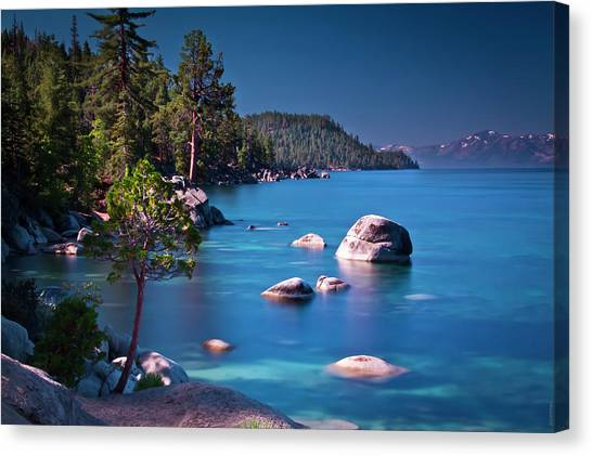 Tahoe On The Rocks Canvas Print by Donni Mac