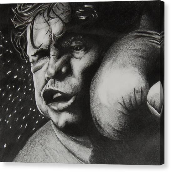 Take It Like A Man Canvas Print by Joan Pollak